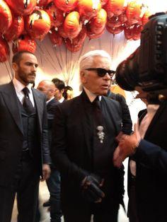 Karl Lagerfield  lors de la soirée Shu uemura par Karl Lagerfeld