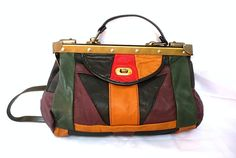 FLO French Vintage Colors Leather Patched Doc Bag