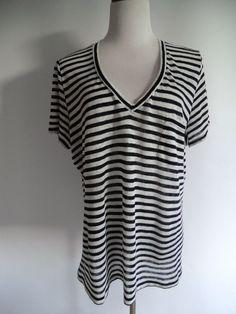 NOWT J. CREW 100% LINEN BLACK & WHITE STRIPED TOP SIZE XL #JCrew #KnitTop #Casual