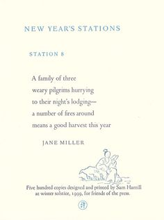 New Year's Stations: Station 8 [Broadside] by Miller, Jane - Family Of Three, Port Townsend, Five Hundred, Letterpress Printing, Winter Holidays, Poetry, Prints, Copper, Letterpresses
