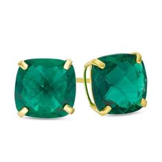 Zales 6.0mm Princess-Cut Lab-Created Emerald Solitaire Stud Earrings in 10K Gold Lc9P3lRD
