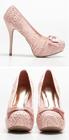Blush Lace Bow Pumps <3 - idk why but I love these