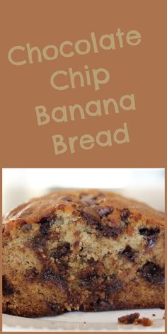 The best Chocolate Chip Banana Bread. This easy to make, super moist banana bread recipe will be your go-to recipe anytime you have overripe bananas on your counter! Choc Chip Banana Bread, Super Moist Banana Bread, Make Banana Bread, Just Desserts, Delicious Desserts, Dessert Recipes, Yummy Food, Yummy Treats, Sweet Treats