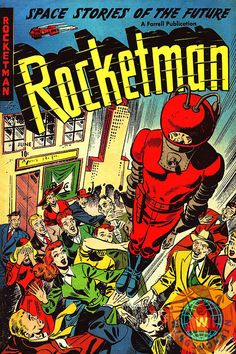 Buy Classic Comic Book Cover Rocketman by Wingsdomain Art and Photography fine art prints on museum quality photo paper, metal, or canvas