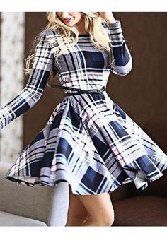 96859c9d0c Multicolor Striped Draped Belt Long Sleeve Round Neck Fashion Midi Dress