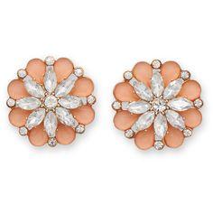 Peach Flower Fashion Earrings (135 NOK) ❤ liked on Polyvore featuring jewelry, earrings, earrings jewelry, post earrings, flower earrings, peach jewelry and flower jewelry