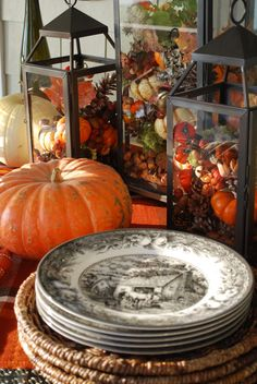 Fall Tablescape, Lanterns with Transferware.