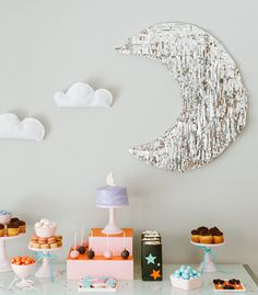 Maddy Hague of Confetti Pop created this darling starry birthday party for her daughter Aurora. This festive party was overflowing with charming DIY decor and whimsical touches. First Birthday Parties, First Birthdays, 4th Birthday, Moon Projects, You Are My Moon, Diy Party, Party Ideas, Space Party, Throw A Party
