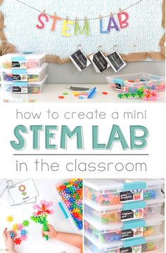 Create a Mini STEM Lab in Your Classroom Ready to bring STEM into your classroom in an easy, but exciting way! Create your own mini STEM Lab in your classroom and watch your students learn, explore, in a meaningful and engaging way! Stem Science, Preschool Science, Kindergarten Classroom, Classroom Activities, Classroom Organization, Earth Science, Classroom Ideas, Elementary Science Classroom, Summer Science