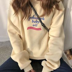 Baby Oil Sweatshirt, johnsons baby oit sweater shirt sweatshirt hoodie, grunge, soft grunge, grunge fashion, aesthetic clothes, aesthetic outfit, pale grunge, pastel grunge, aesthetic tumblr