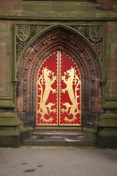 Doorway at St. Giles, Cheadle, Staffordshire, England - photo by Steve Cadman, via Flickr;  built in 1841-6, designed by Augustus Pugin
