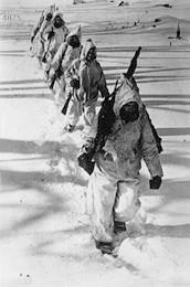 Los esquiadores de la División Azul inician su odisea a través del Lago Ilmen - 10/01/1942.