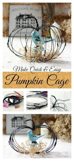 Craft For Fall Decor - Pumpkin Cage made from wires.