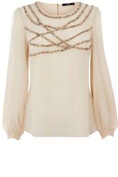 Oasis Shop | Mid Pink Embellished Long Sleeve Top | Womens Fashion Clothing | Oasis Stores UK - StyleSays