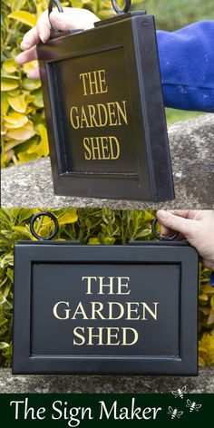 A hanging house sign from The Sign Maker. This sign has been framed, painted black with gold painted lettering. It was supplied with a wrought iron bracket and fittings. Sign size - 300mm x 210mm. Ref 2103.LW.236