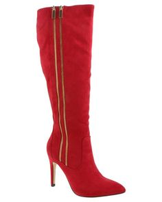 Opt for a showstopping look and get your hands on this pairof Carmen Boots by Madison. Thesestriking red knee-highs will do more than keep you warm - they will create a bold, chic look. When you're looking to jazz up your skinny jeans and button-downblouse combo, add these bold boots.