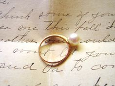10k Gold Pearl Ring by LilacVale on Etsy, $150.00
