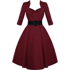 HELL BUNNY MOMO BURGUNDY POLKA DOT 50S VINTAGE 3/4 SLEEVE FLARE SWING... ❤ liked on Polyvore