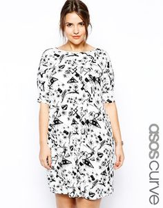 Image 1 of ASOS CURVE Exclusive Shift Dress In Graffiti Print