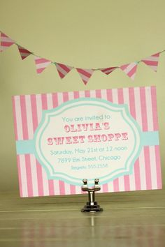 @Lauren RayaDIY Printable Sweet Shoppe PARTY INVITE Candy shop Pink Aqua Vintage Charm. $12.00, via Etsy.