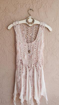 Sheer Beach bohemian crochet coverup tunic in dusty pink
