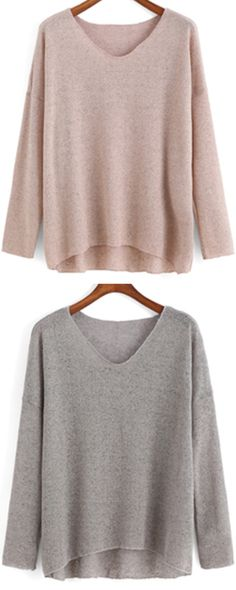 Quality & simple fashion loose pullover sweater.Love this apricot dip hem knitwear ,so cozy as it , yeah ?