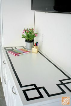 Courtney_Fernan_GarageCabinets_18 DIY Greek Key Trim! I wonder if this could work on a dining table...