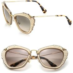 Miu Miu Embellished 55MM Cat's-Eye Sunglasses (36.910 RUB) ❤ liked on Polyvore featuring accessories, eyewear, sunglasses, apparel & accessories, miu miu, retro style sunglasses, miu miu glasses, cat eye sunglasses and cat eye glasses