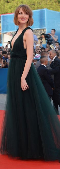 Emma Stone in Valentino at the Venice Film Festival premiere of Birdman.