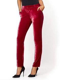 Tuxedo Slim Leg Pant - Modern Fit - Velvet - Avenue - New York & Company Burgundy Pants, Tuxedo Pants, Pantsuits For Women, Velvet Fashion, Hot Outfits, Slim Legs, Autumn Fashion, Elegant, Clothes