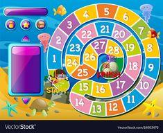 Boardgame template with underwater scene vector image on VectorStock Cartoon Picture, Cartoon Pics, Preschool Shapes, Reward Chart Kids, Printable Board Games, School Painting, Alphabet Activities, First Day Of School, Homeschooling