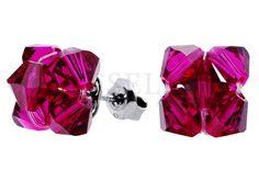 Urocze srebrne kolczyki w kształcie kwiatuszków z czerwonych kryształów Swarovski ELEMENTS
