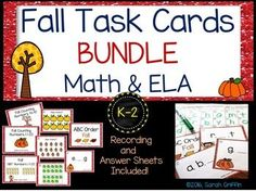 Your Fall themed centers will be ready to go with this Fall Task Card GROWING Bundle.  That's right - I will be adding more, and you won't have to pay more :) Use in centers with small groups, as whole class SCOOT games, or as assessments! Great for Kindergarten, 1st, and 2nd grade.