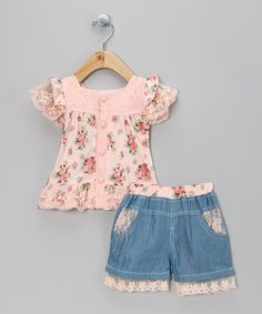 Take a look at this Pink Floral Top & Denim Shorts - Toddler & Girls by Chic Charlee on #zulily today!