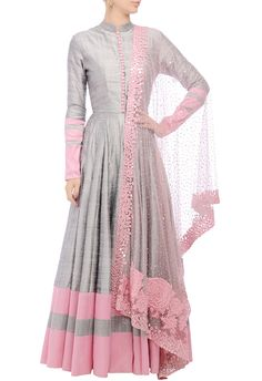 Grey embellished anarkali set