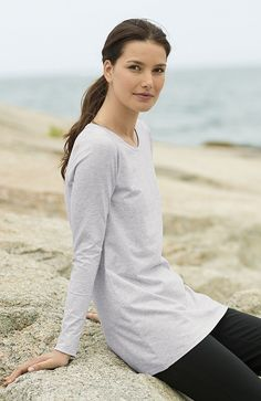 Pure Jill stretch cotton V-neck tee