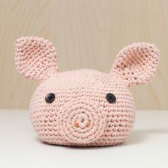 Türstopper gehäkelt Tierkopf Schwein altrosa niedlich von MJUKstore