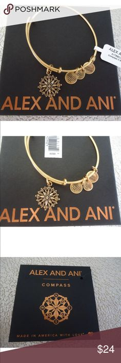 🆕😍ALEX AND ANI COMPASS III Gold Charm Bangle😍🆕 This beautiful Russian Gold finish charm bangle is new with tags and comes with an Alex and Ani card and box.  Price is firm unless bundled with other items in my closet/boutique. Alex & Ani Jewelry Bracelets