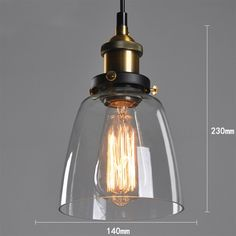 Vintage Industrial DIY Ceiling Lamp Light Glass Pendant Lampshade | eBay