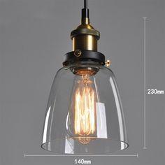 Vintage Industrial DIY Ceiling Lamp Light Glass Pendant Lampshade | eBay