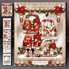 Festive Christmas Ladies Boutique Card Mini Kit by Atlic Snezana Festive Christmas Ladies Boutique Card Mini Kit 4 sheets for print with decoupage for 3D effect plus few sentiment tags (for your own personal text)