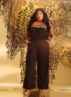 Ashley Stewart Military Glam -  Beaded Trim Jumpsuit #AshleyStewartDiva