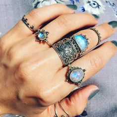 Shop Dixi Moonstone Rings Dancing In The Sunlight! // boho // bohemian // hippie // gypsy // rainbow moonstone // sterling silver // jewelry // jewellery