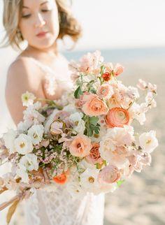 spring wedding Proof That a Wedding Exit by Boat Is Sea-Riously Worth It Spring Wedding Flowers, Bridal Flowers, Flower Bouquet Wedding, Floral Wedding, Wedding Colors, Flower Bouquets, Peach Bouquet, Peach Wedding Decor, Wedding Ideas