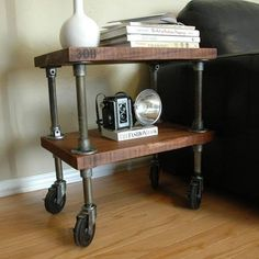 Scrap 2x lumber, plumbing pipe and fittings, industrial casters make a rolling side table