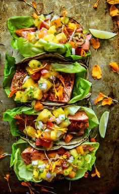 Chili Lime Salmon Tacos with Mango Salsa from HeatherChristo.com