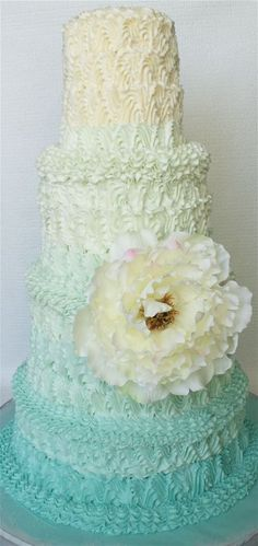 pale turquoise ombre wedding cake