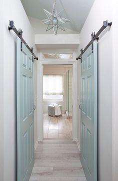 Laguna beach interior design firms coastal cottage twiddy co House Of Turquoise, Beach Interior Design, Bathroom Interior Design, Sliding Closet Doors, Beach House Decor, Home Decor, Interior Barn Doors, Barn Door Hardware, Coastal Decor