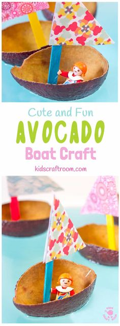 CUTE AVOCADO BOAT CRAFT FOR KIDS. Homemade boat crafts for kids encourage imaginative play sailing around the wading pool or bath. Learn about floating, sinking, buoyancy and weight bearing. Summer Crafts For Kids, Spring Crafts, Diy For Kids, Spring Projects, Summer Diy, Boat Crafts, Fun Crafts, Boat Craft Kids, Nature Crafts