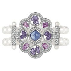 """""""Charismatique"""" #Bracelet from #TalismansDeChanel - #Chanel - #FineJewellery collection in 18K white gold set with a 4,5 carat #SugarloafCut blue #Tanzanite - 4 #BaroqueCut pink #Sapphires (total weight 4,4 carats), 8 baroque cut violet sapphires (total weight 5,6 carats), 667 #BrilliantCut - #Diamonds (total weight 5 carats) & 52 japanese cultured #Pearls july 2015"""